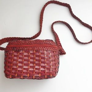 Vintage Franco Sarto leather basket weave bag